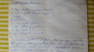 Butterscotch Brownies, Grandma's handwritten recipe.