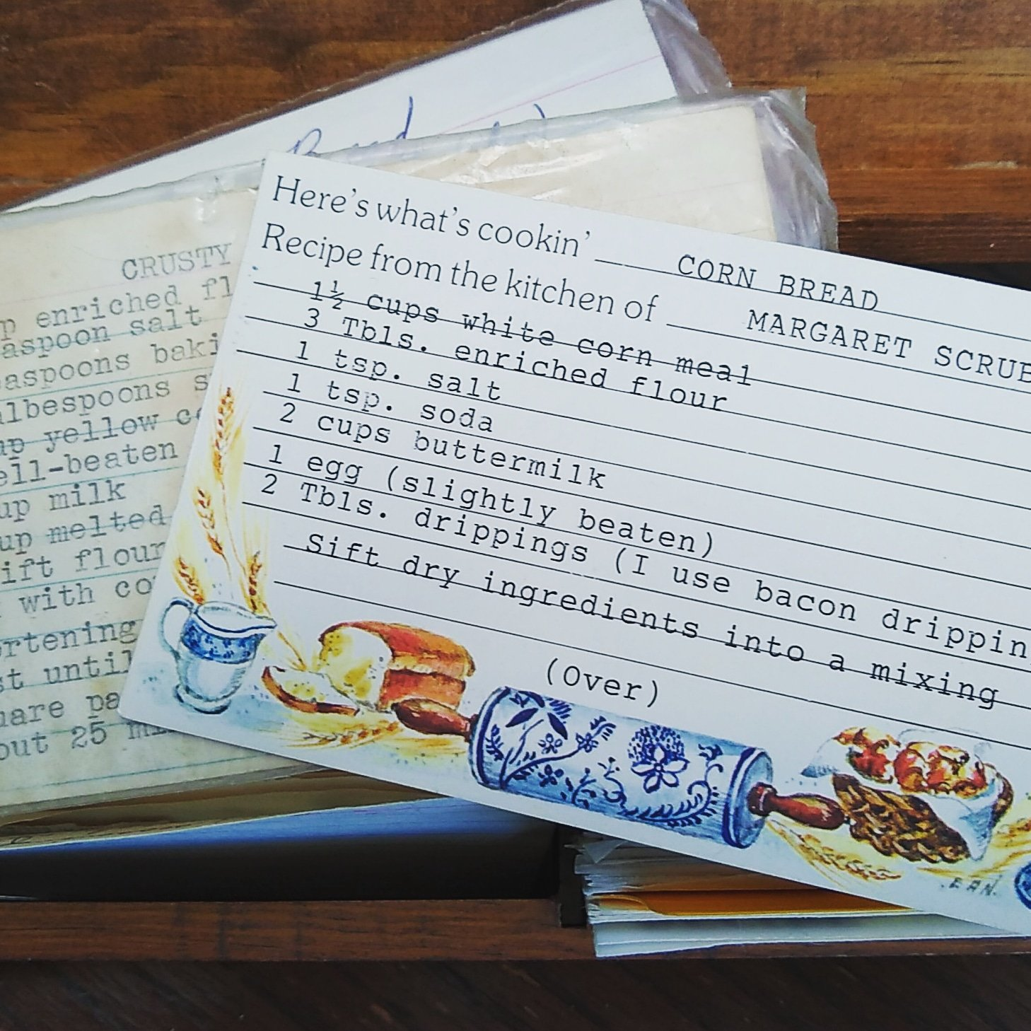 Recipe, corn bread, recipe card