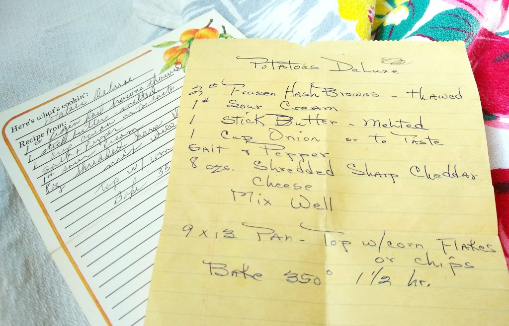 Handwritten Cheesy Potatoes Recipe. Also called Potatoes Deluxe or Cheesy Hash Brown Casserole.