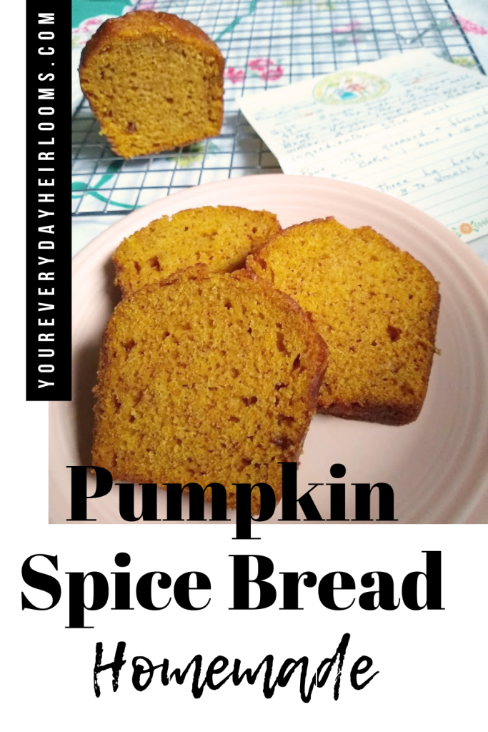 Pumpkin bread image made for sharing on pinterest.