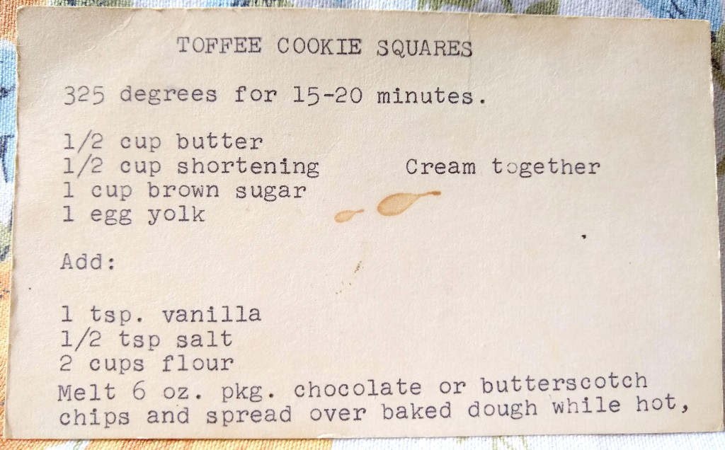 Close up of typed recipe card. Yellow with age with stains.