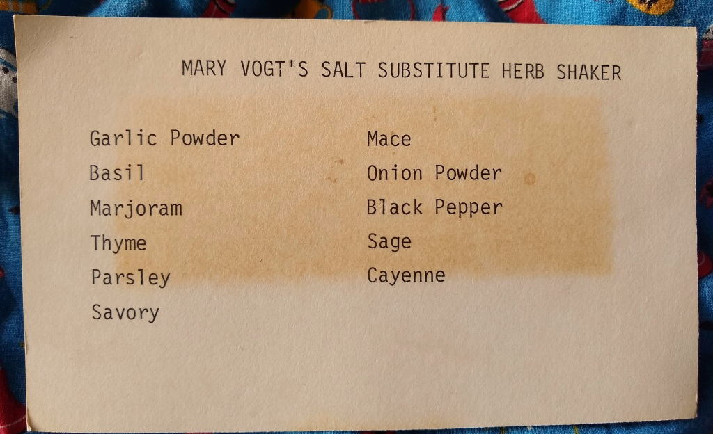 Vintage typed recipe card.