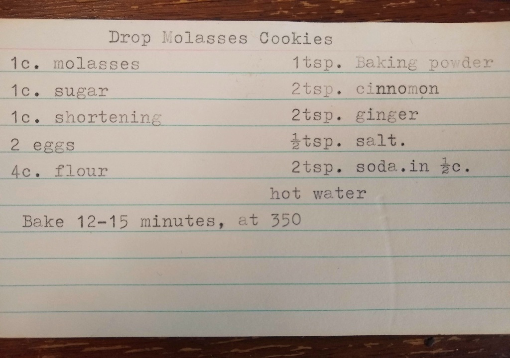 Index card with typed recipe